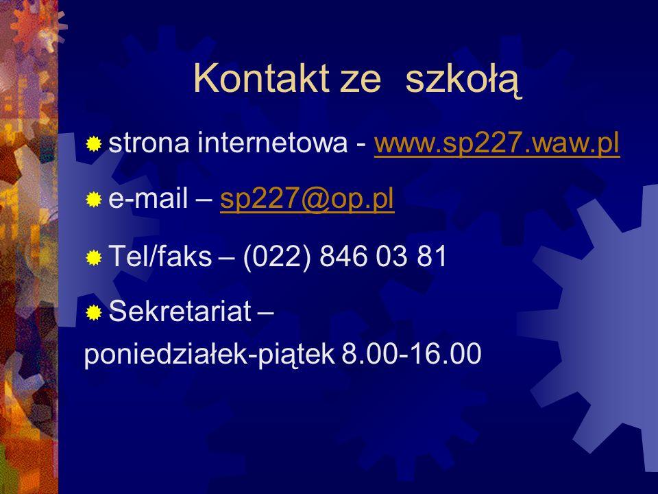 Kontakt ze szkołą strona internetowa - www.sp227.waw.pl
