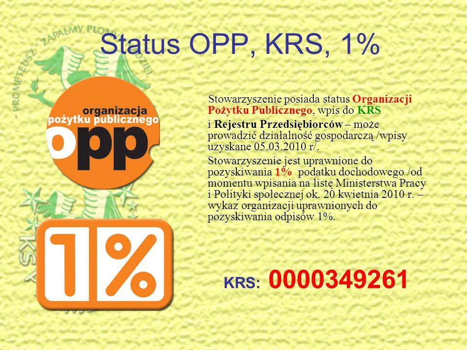 Status OPP, KRS, 1% Stowarzyszenie posiada status Organizacji Pożytku Publicznego, wpis do KRS.