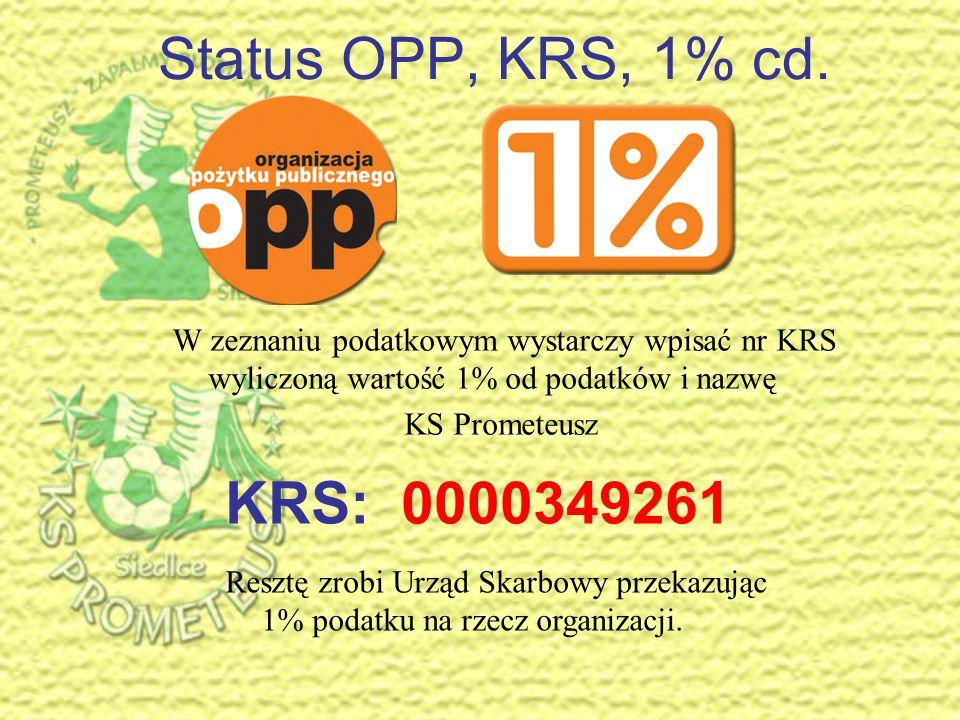 Status OPP, KRS, 1% cd.W zeznaniu podatkowym wystarczy wpisać nr KRS wyliczoną wartość 1% od podatków i nazwę.