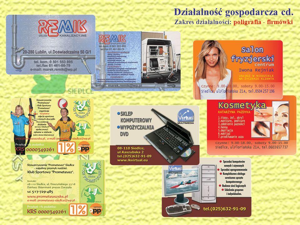 Działalność gospodarcza cd.