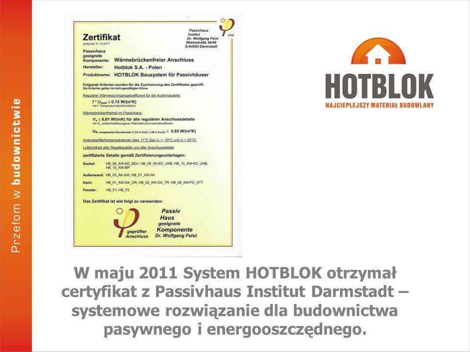 W maju 2011 System HOTBLOK otrzymał certyfikat z Passivhaus Institut Darmstadt – systemowe rozwiązanie dla budownictwa pasywnego i energooszczędnego.