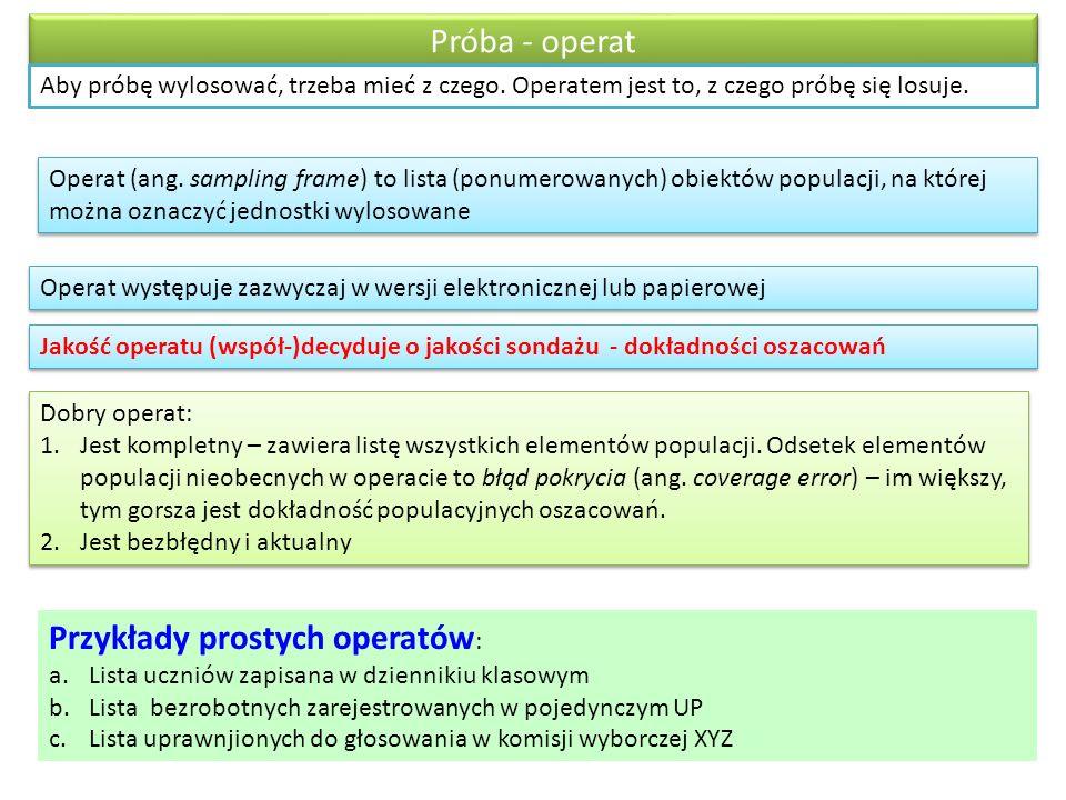 Przykłady prostych operatów: