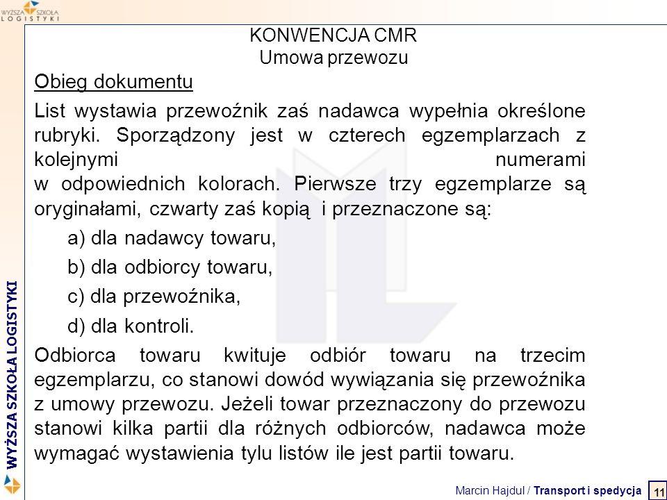 KONWENCJA CMR Umowa przewozu