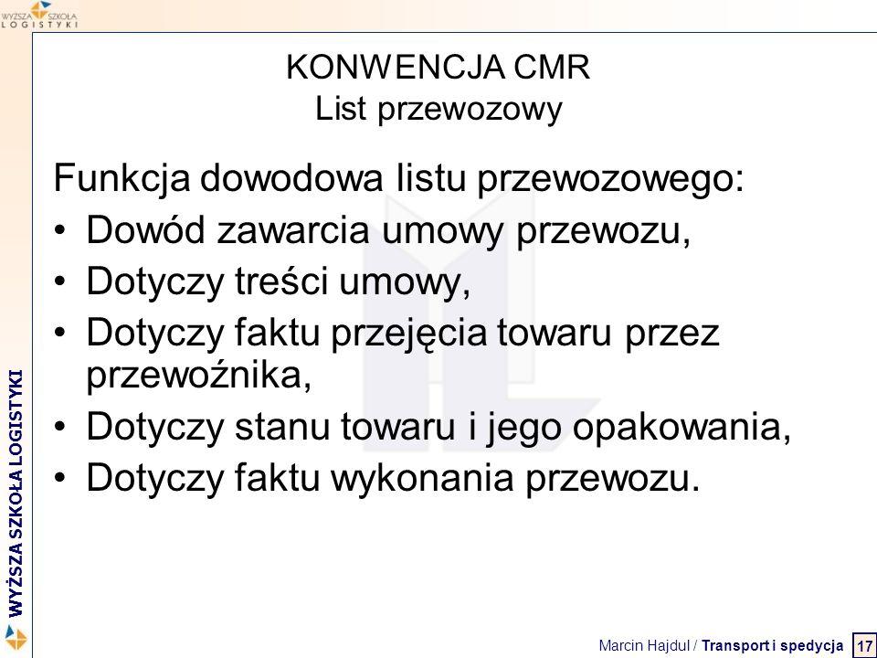 KONWENCJA CMR List przewozowy