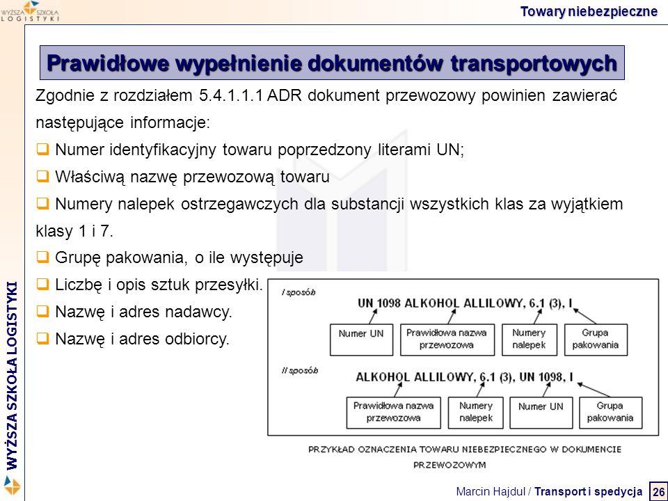 Prawidłowe wypełnienie dokumentów transportowych