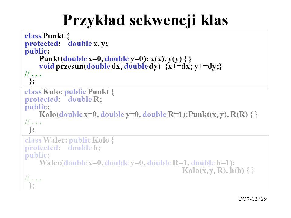 Przykład sekwencji klas