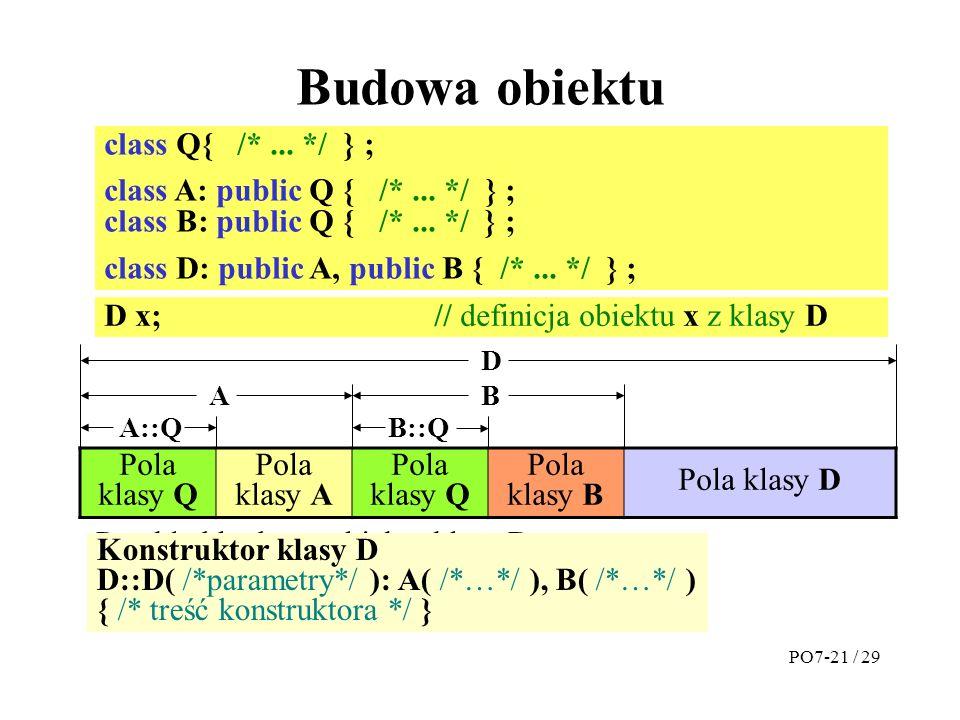Budowa obiektu class Q{ /* ... */ } ;