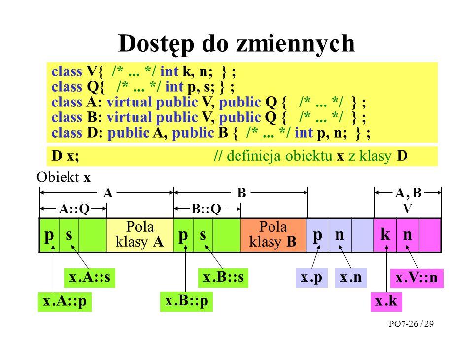 Dostęp do zmiennych p s n k class V{ /* ... */ int k, n; } ;