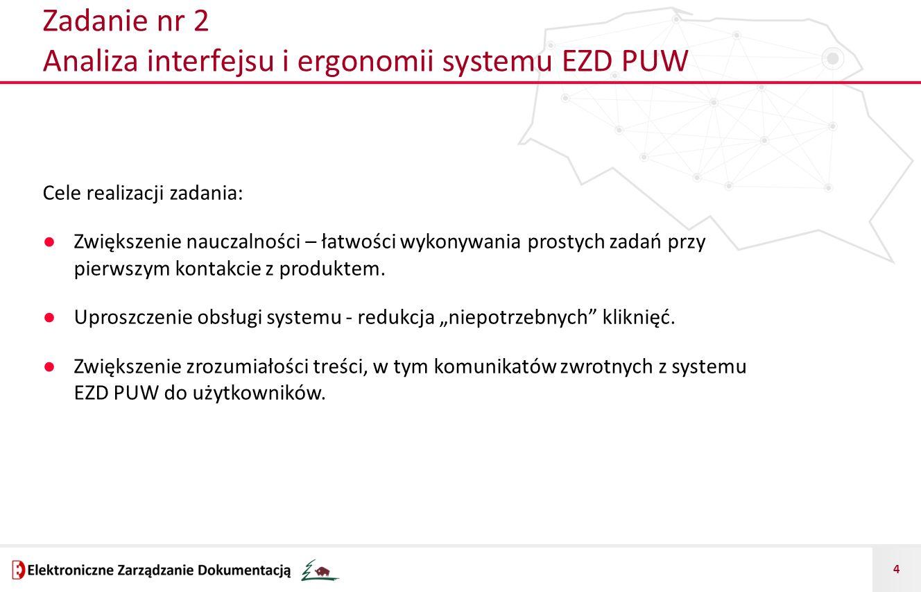 Zadanie nr 2 Analiza interfejsu i ergonomii systemu EZD PUW