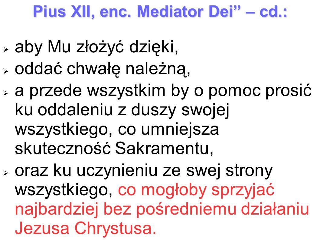 Pius XII, enc. Mediator Dei – cd.: