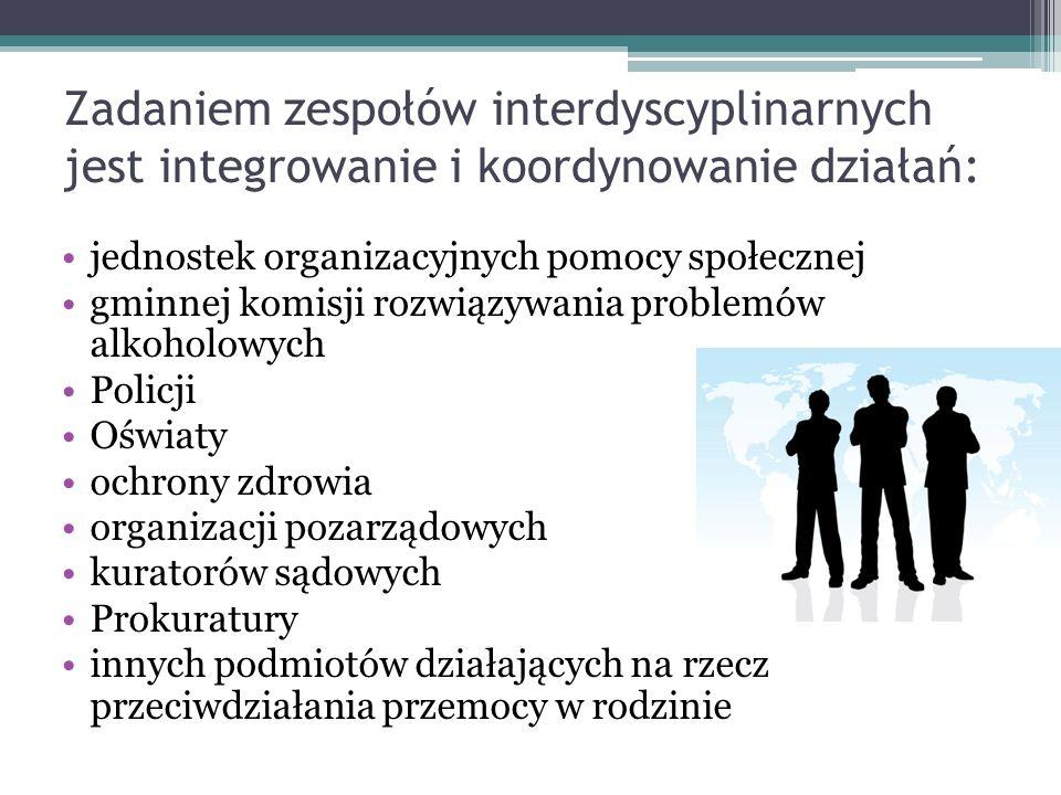 Zadaniem zespołów interdyscyplinarnych jest integrowanie i koordynowanie działań: