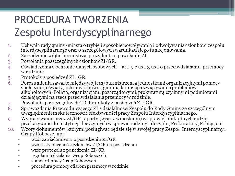 PROCEDURA TWORZENIA Zespołu Interdyscyplinarnego