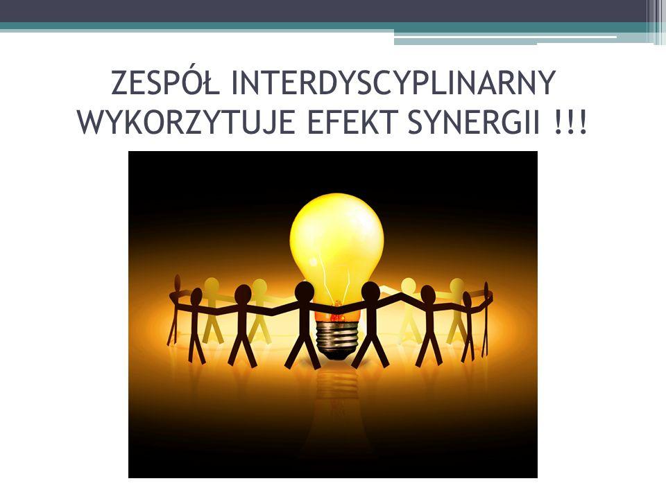 ZESPÓŁ INTERDYSCYPLINARNY WYKORZYTUJE EFEKT SYNERGII !!!