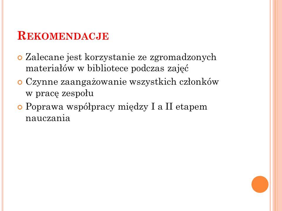 Rekomendacje Zalecane jest korzystanie ze zgromadzonych materiałów w bibliotece podczas zajęć.