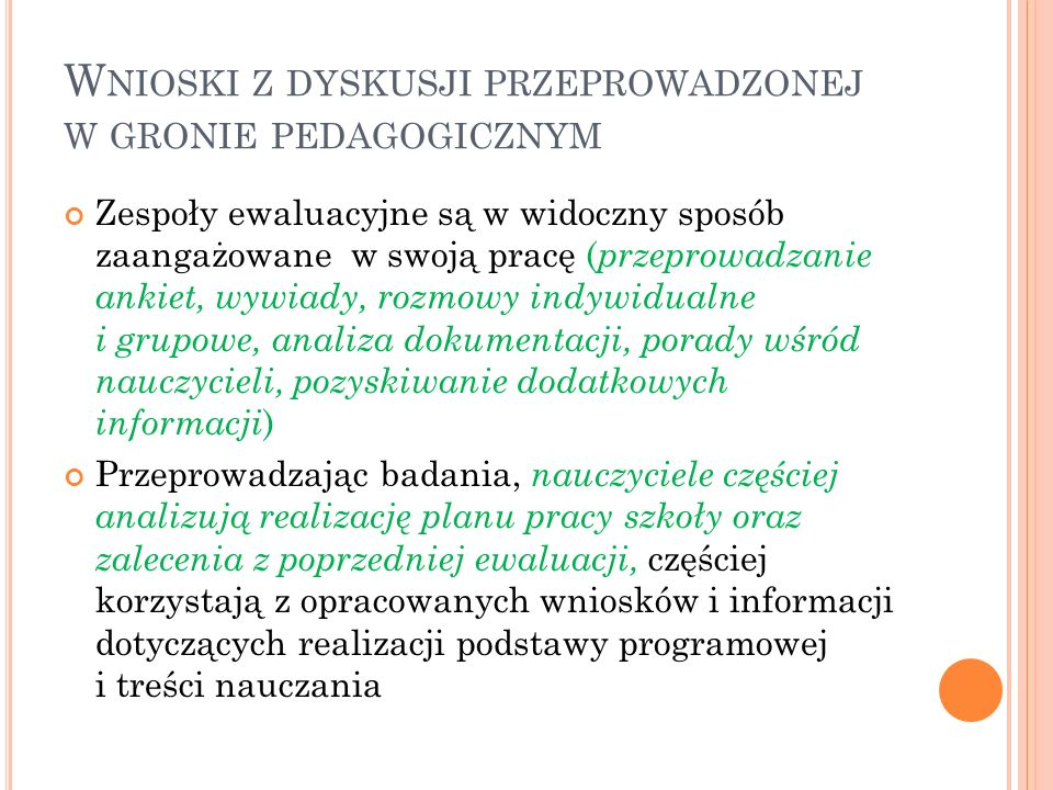 Wnioski z dyskusji przeprowadzonej w gronie pedagogicznym