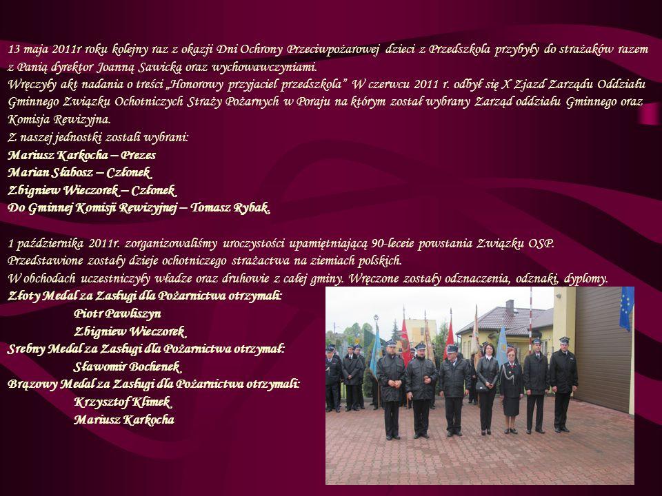 13 maja 2011r roku kolejny raz z okazji Dni Ochrony Przeciwpożarowej dzieci z Przedszkola przybyły do strażaków razem z Panią dyrektor Joanną Sawicką oraz wychowawczyniami.