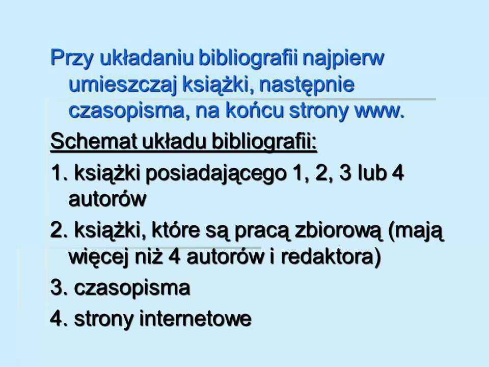 Przy układaniu bibliografii najpierw umieszczaj książki, następnie czasopisma, na końcu strony www.