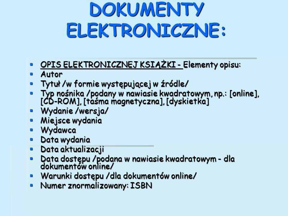 DOKUMENTY ELEKTRONICZNE: