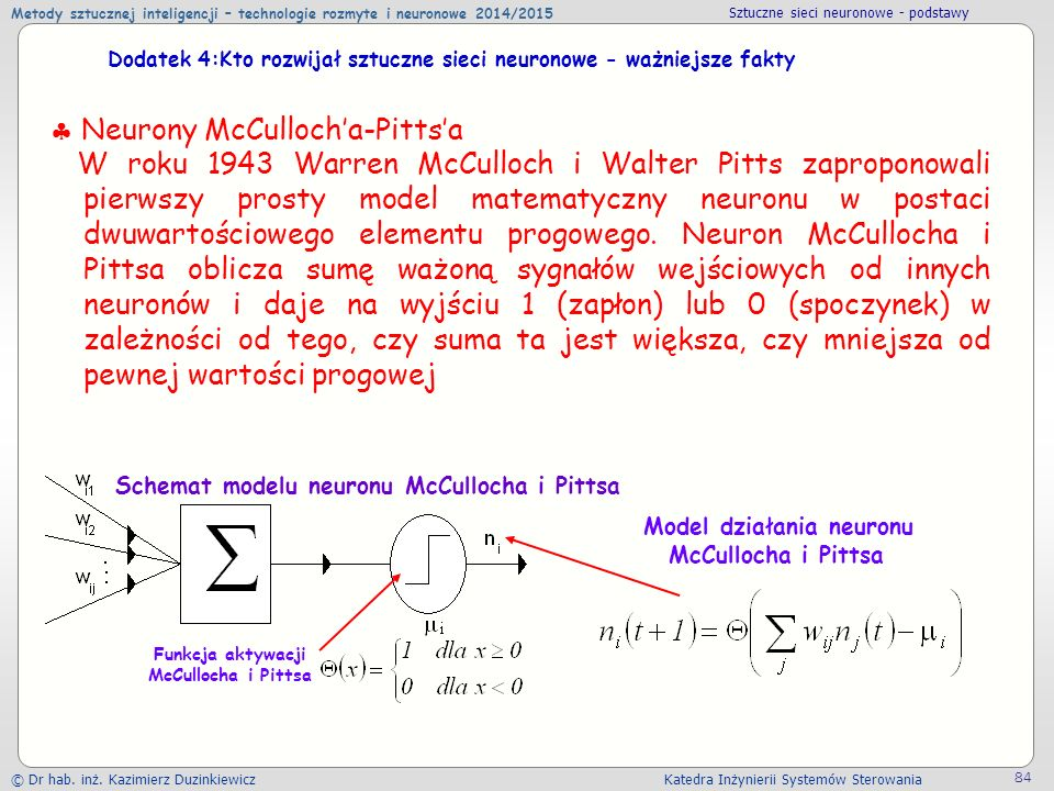 Neurony McCulloch'a-Pitts'a
