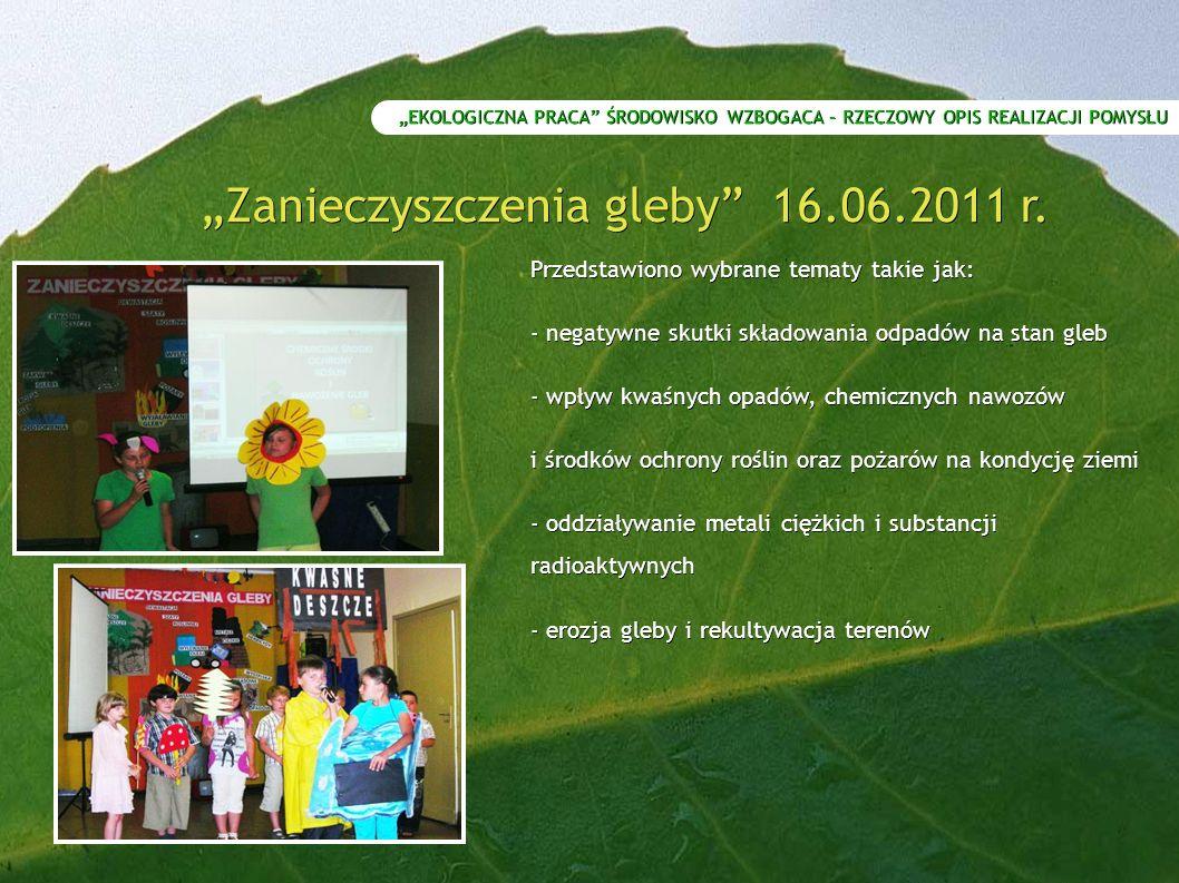 """""""Zanieczyszczenia gleby 16.06.2011 r."""
