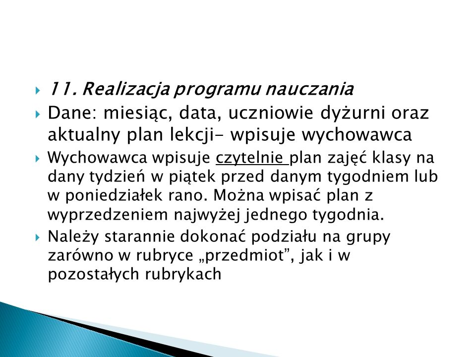 11. Realizacja programu nauczania