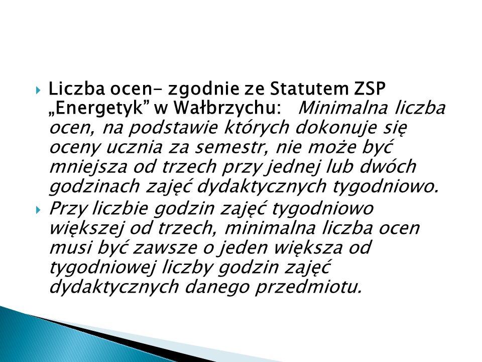 """Liczba ocen- zgodnie ze Statutem ZSP """"Energetyk w Wałbrzychu: Minimalna liczba ocen, na podstawie których dokonuje się oceny ucznia za semestr, nie może być mniejsza od trzech przy jednej lub dwóch godzinach zajęć dydaktycznych tygodniowo."""