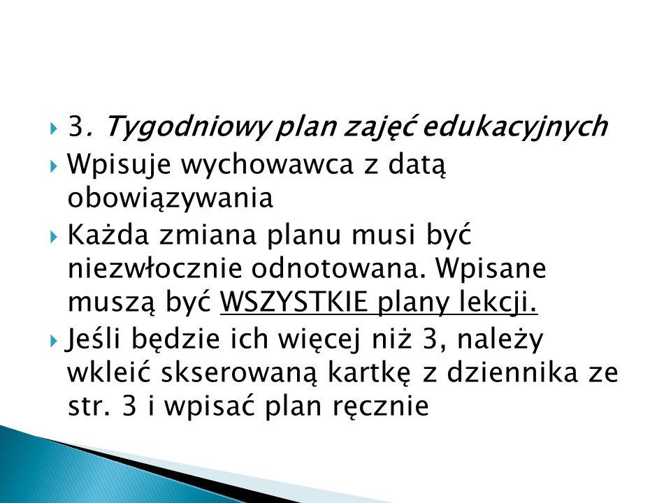 3. Tygodniowy plan zajęć edukacyjnych