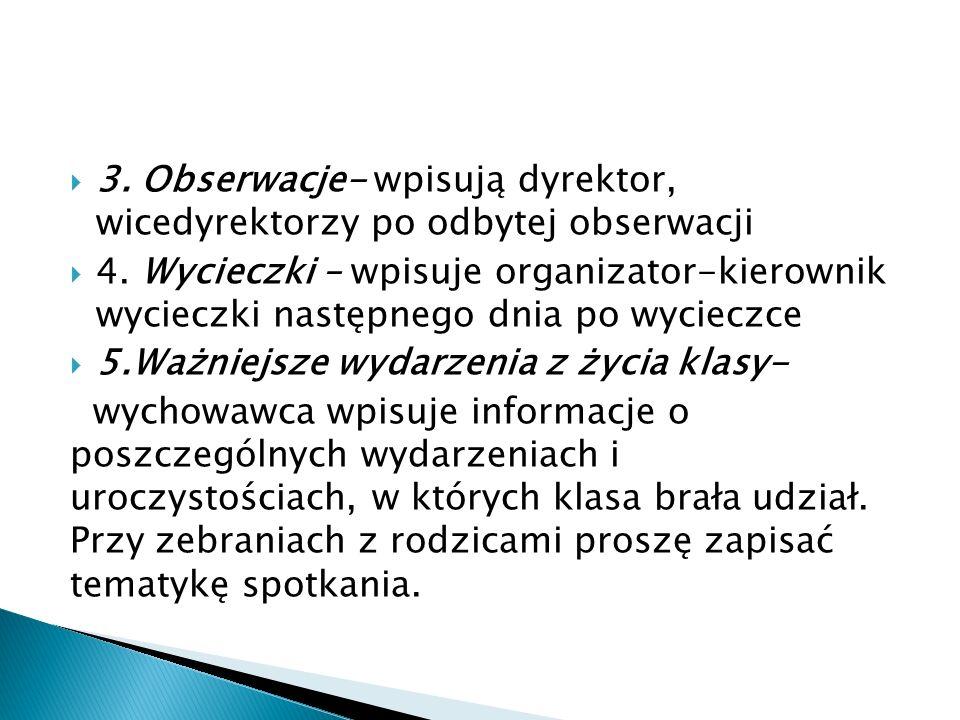 3. Obserwacje- wpisują dyrektor, wicedyrektorzy po odbytej obserwacji