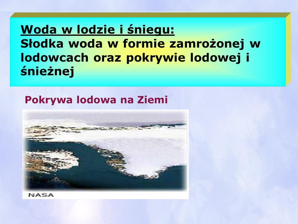 Woda w lodzie i śniegu: Słodka woda w formie zamrożonej w lodowcach oraz pokrywie lodowej i śnieżnej.