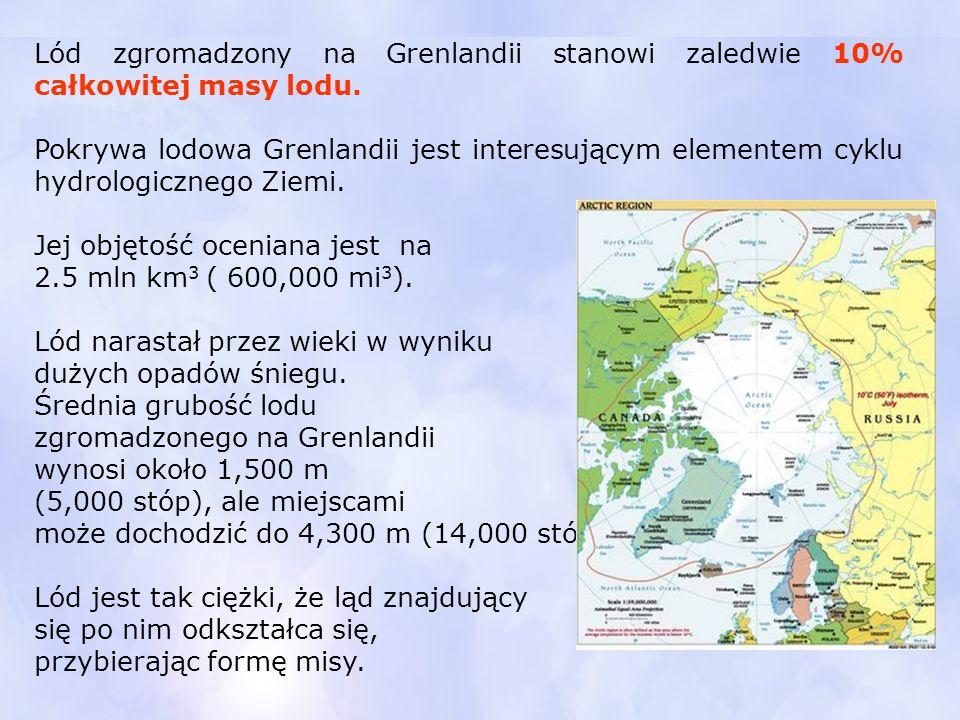 Lód zgromadzony na Grenlandii stanowi zaledwie 10% całkowitej masy lodu.