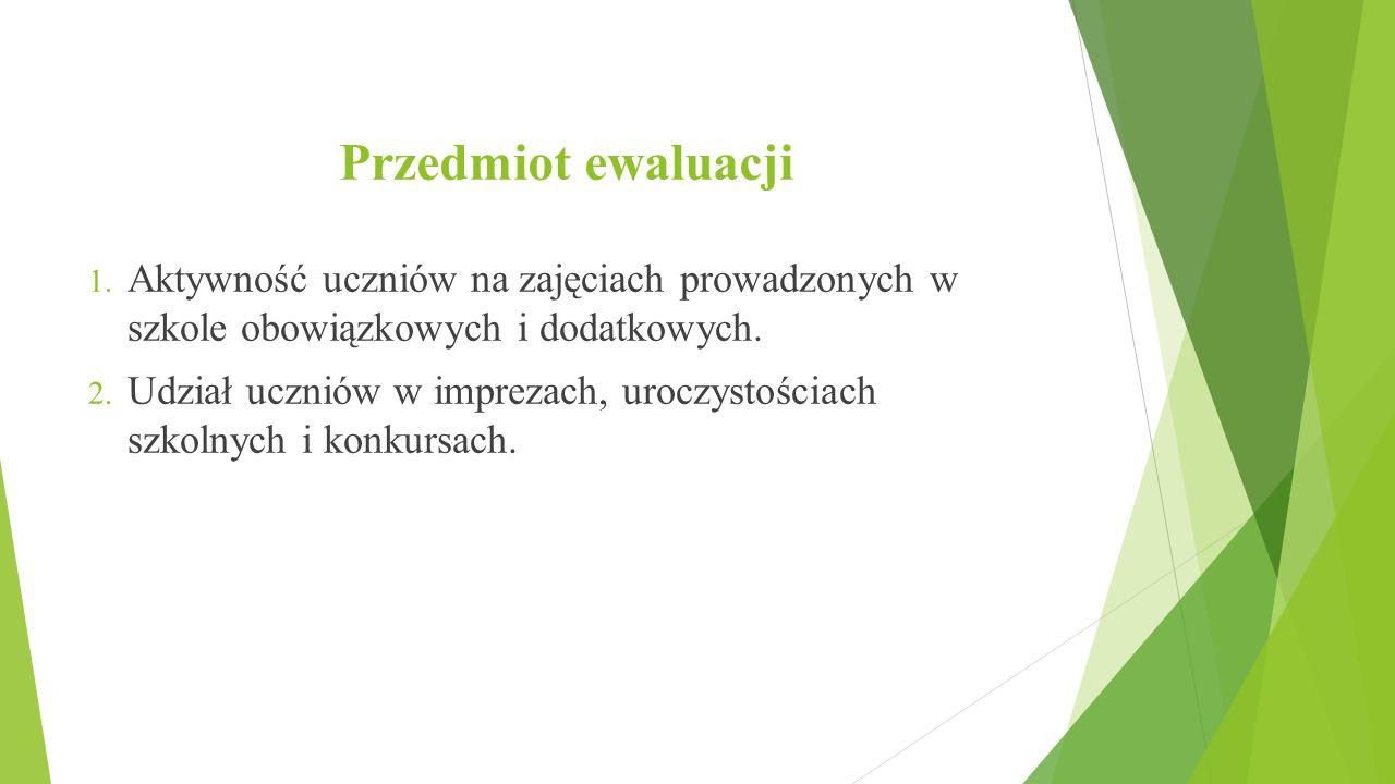 Przedmiot ewaluacji Aktywność uczniów na zajęciach prowadzonych w szkole obowiązkowych i dodatkowych.