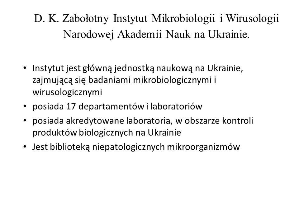 D. K. Zabołotny Instytut Mikrobiologii i Wirusologii Narodowej Akademii Nauk na Ukrainie.