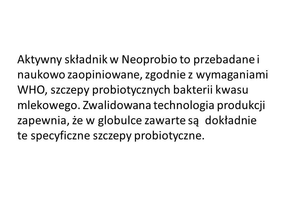 Aktywny składnik w Neoprobio to przebadane i naukowo zaopiniowane, zgodnie z wymaganiami WHO, szczepy probiotycznych bakterii kwasu mlekowego.