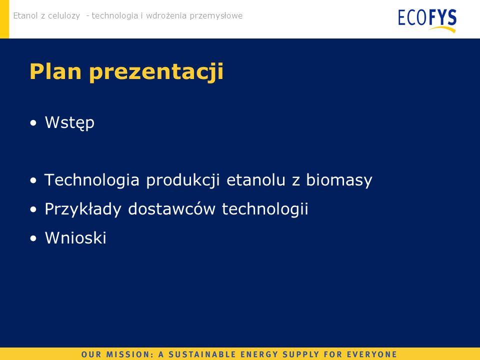 Plan prezentacji Wstęp Technologia produkcji etanolu z biomasy