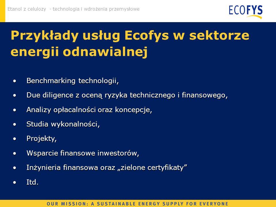 Przykłady usług Ecofys w sektorze energii odnawialnej
