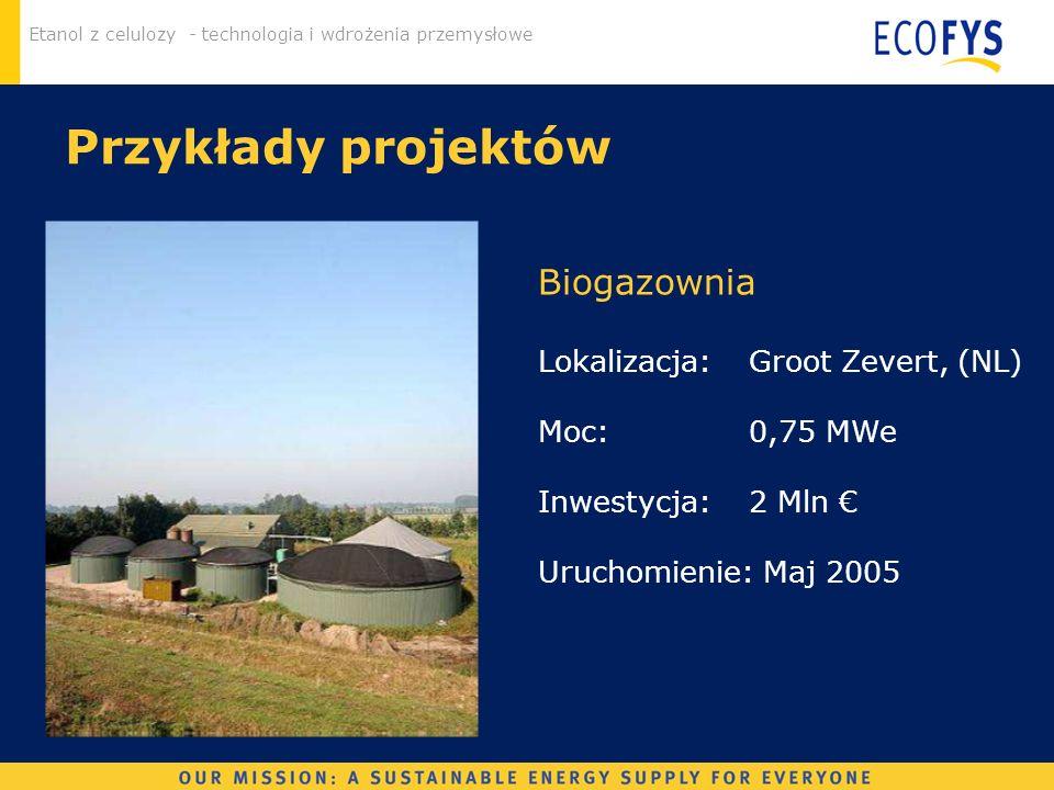Przykłady projektów Biogazownia Lokalizacja: Groot Zevert, (NL)