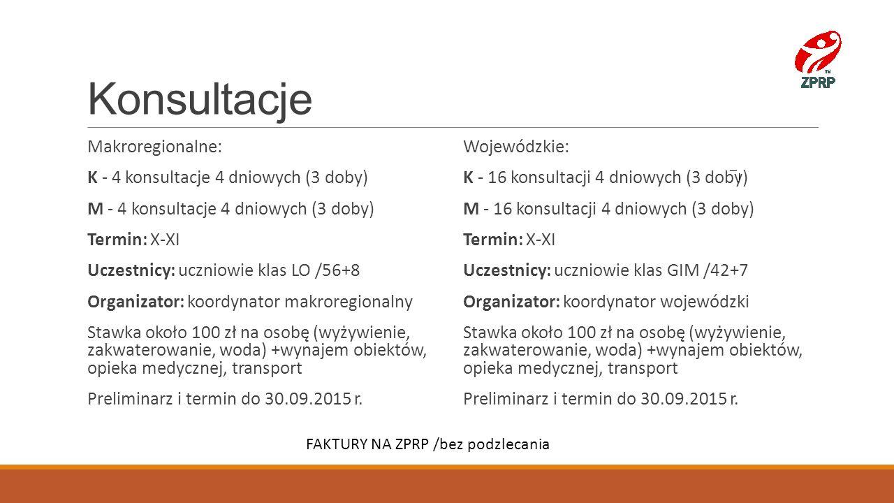 Konsultacje Makroregionalne: K - 4 konsultacje 4 dniowych (3 doby)
