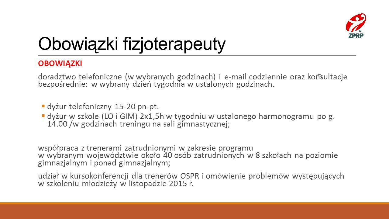 Obowiązki fizjoterapeuty