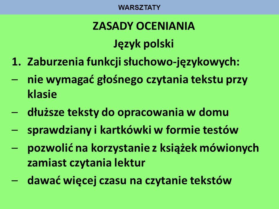 ZASADY OCENIANIA Język polski