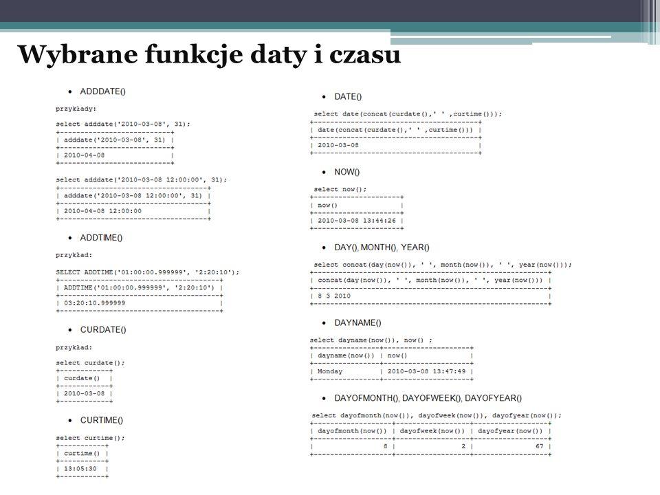 Wybrane funkcje daty i czasu