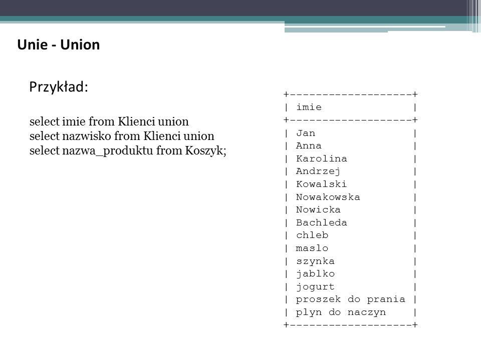 Unie - Union Przykład: select imie from Klienci union