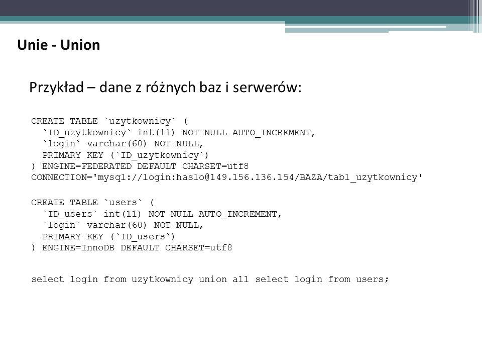 Przykład – dane z różnych baz i serwerów: