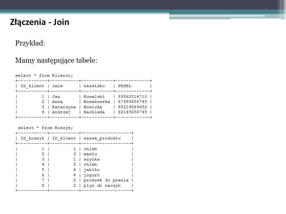 Złączenia - Join Przykład: Mamy następujące tabele: