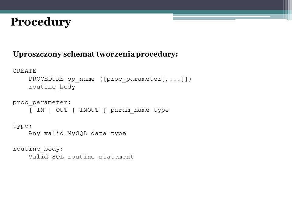 Procedury Uproszczony schemat tworzenia procedury: CREATE