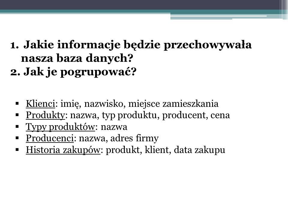 Jakie informacje będzie przechowywała nasza baza danych