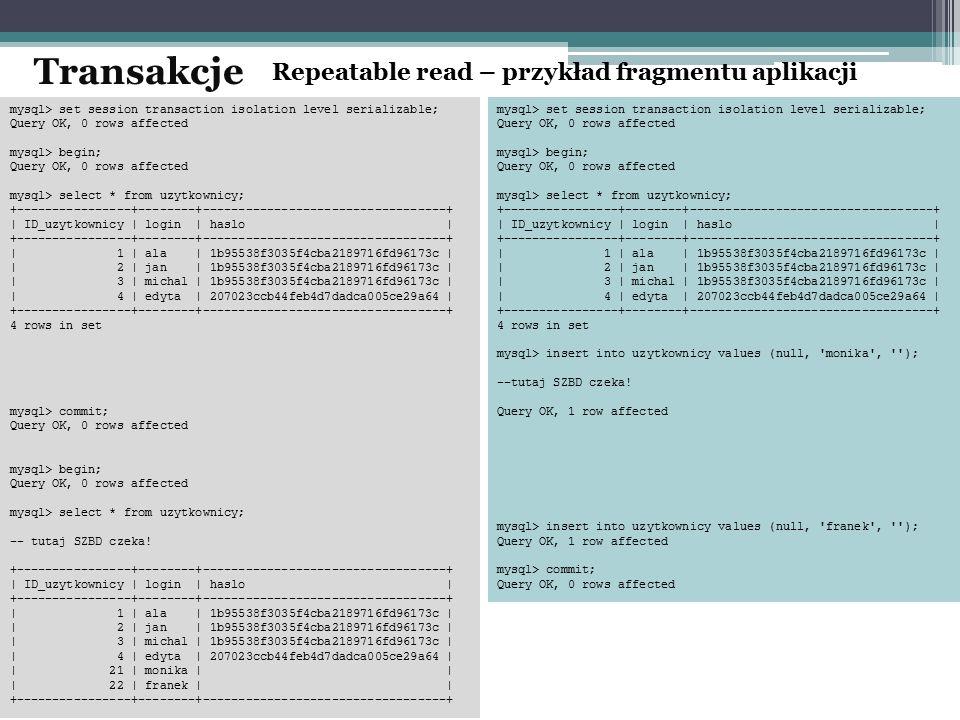 Transakcje Repeatable read – przykład fragmentu aplikacji