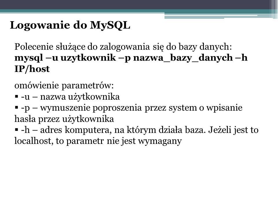 Logowanie do MySQL Polecenie służące do zalogowania się do bazy danych: mysql –u uzytkownik –p nazwa_bazy_danych –h IP/host.