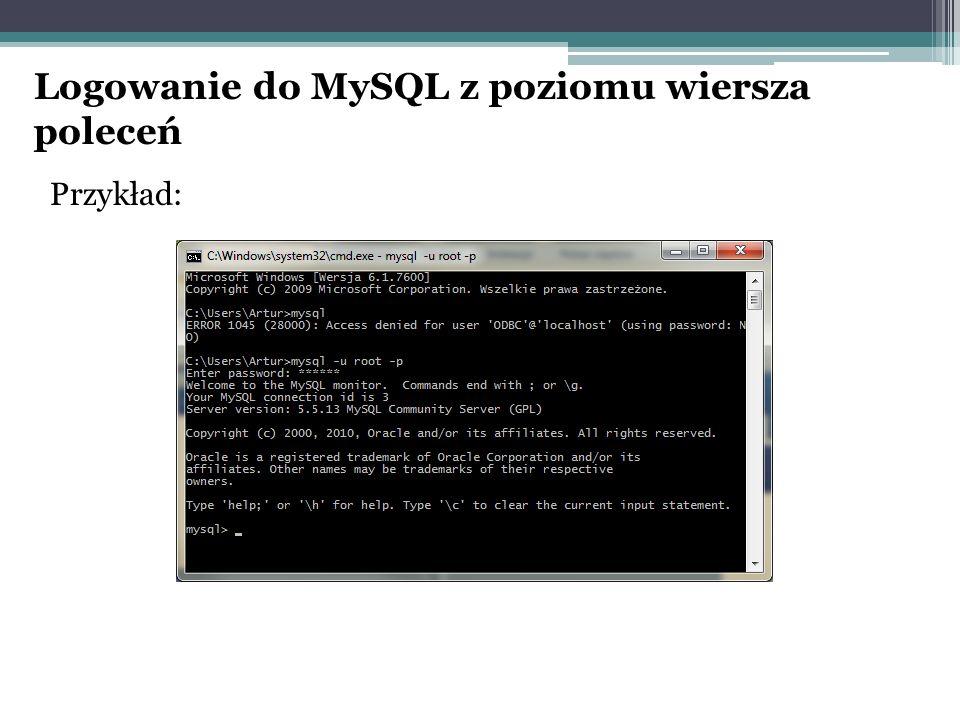 Logowanie do MySQL z poziomu wiersza poleceń