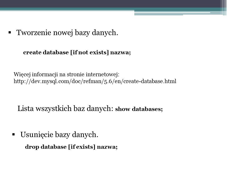 Tworzenie nowej bazy danych.
