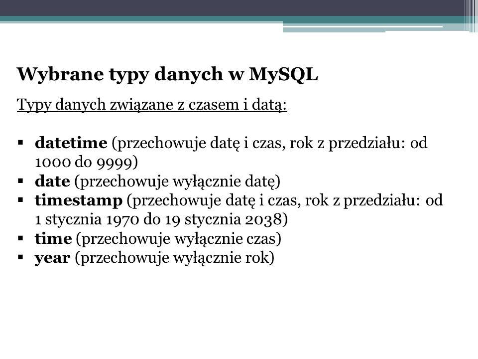 Wybrane typy danych w MySQL